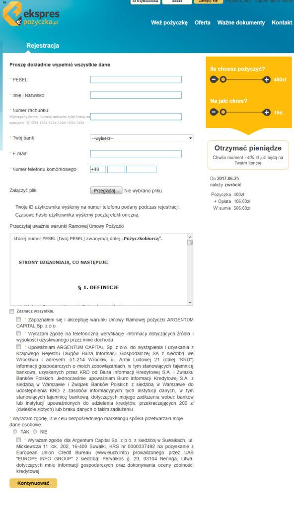 Ekspres Pożyczka rejestracja